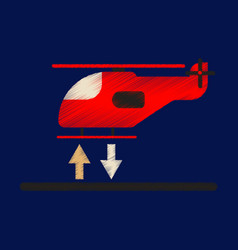 Flat icon in shading style helicopter landing vector