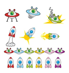 Flying Saucer and Rocket Game Set vector
