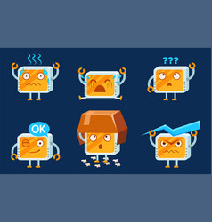 Funny computer monitors characters set cute vector