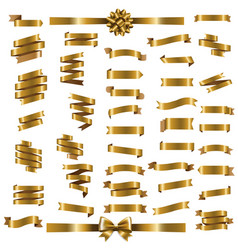 Golden ribbon set vector