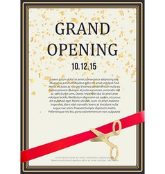Grand opening design scissors cut red ribbon vector