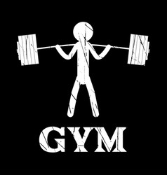 Gym squat icon human grunge symbol flat vector