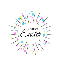 happy easter festive background with rays and vector image