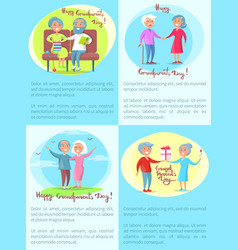 Happy grandparents senior couple daily activities vector