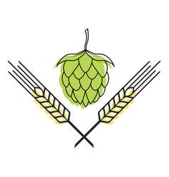 hop and barley emblem icon label logo beer pub vector image