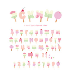 ice cream cyrillic font popsicle colorful letters vector image