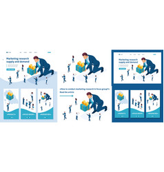 Isometric product marketing research vector