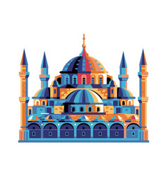 Istanbul sultanahmet blue mosque building in flat vector