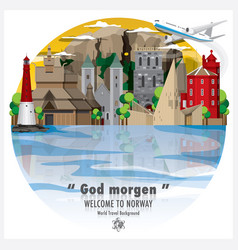 kingdom of norway landmark global travel and vector image