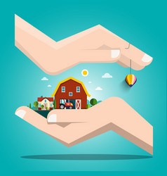 landscape with houses in human hands vector image
