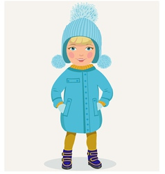 Little girl in winter clothes vector