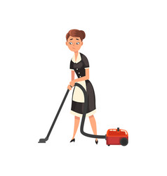 Maid wearing uniform with vacuum cleaner vector