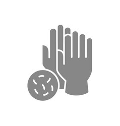 medical gloves with bacteria gray icon hand vector image