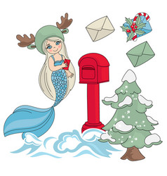 mermaid mail new year color vector image