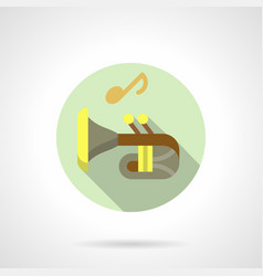 Music lessons trumpet flat round icon vector