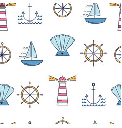 nautical seamless pattern with linear style vector image