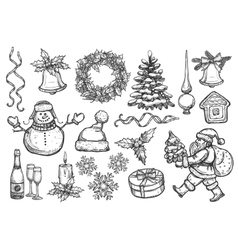 New Year Christmas holiday sketch symbols vector