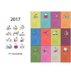 office workers calendar 2017 design vector image