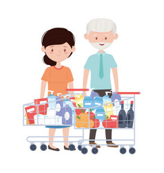 Old man and woman shopping with carts vector