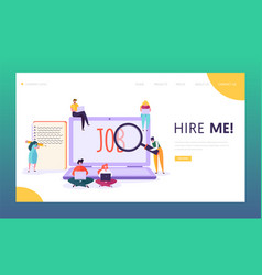 Online job search concept landing page character vector