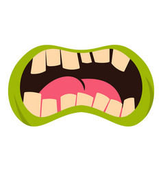 Open zombie mouth icon isolated vector