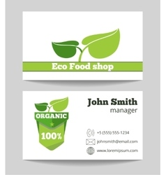 Organic eco food shop business card vector