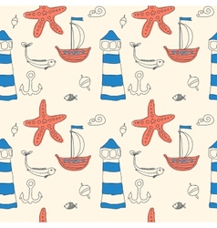 ornament seamless cute sea objects collection vector image