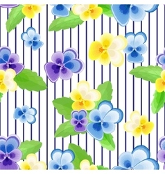Pansies on strips background vector image