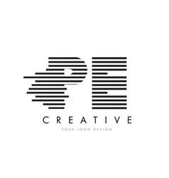 Pe p e zebra letter logo design with black and vector