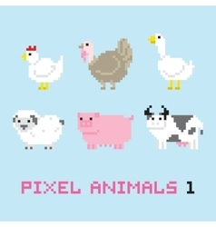 Pixel art style farm animals cartoon set 1 vector