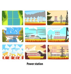 power station set ecological friendly low and vector image vector image