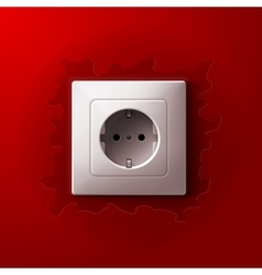 Realistic electric white socket on red wall vector