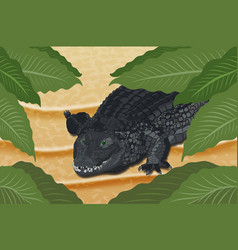 rocodile on the sand under green leaves vector image