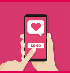 sending love message hand holding phone vector image