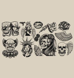 set design elements for tattoo theme vector image