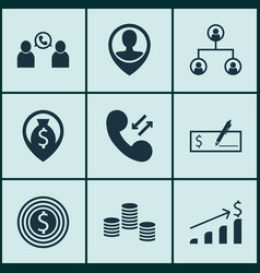 Set of 9 management icons includes business goal vector