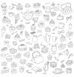 Set of different sweets without color vector