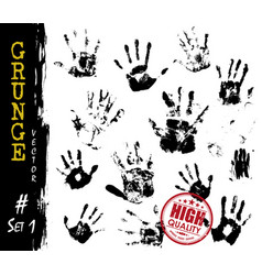 set of grunge style handprints elements vector image