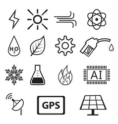 Set of power and energy system in linear icons vector