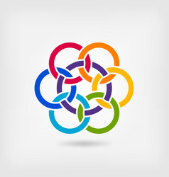 Seven interlocked circles in rainbow colors vector