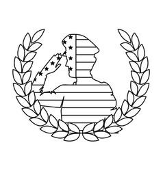 silhouette military saluting with usa flag and vector image