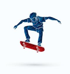 Skateboarder jumping vector