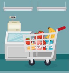 supermarket groceries in shopping cart vector image