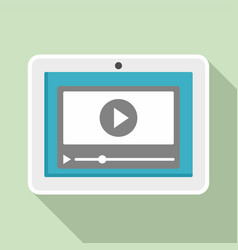 tablet online learning icon flat style vector image