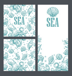 template for greeting card and seamless pattern vector image