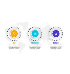 three steps circular infographic template design vector image
