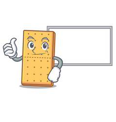 Thumbs up with board graham cookies character vector