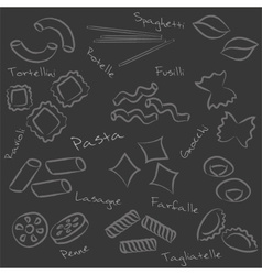 Types of pasta food outline symbols on black board vector
