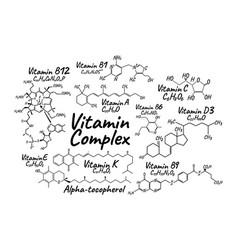 Vitamin complex b1 b6 b9 b12 k a e c label and vector