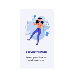 woman information document search concept vector image